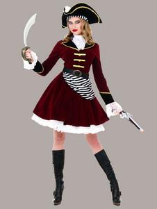 Pirata traje Caribe do mulheres piratas Borgonha vestido extravagante   Halloween