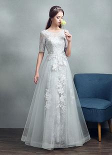 Летние свадебные платья 2020 Серые кружевные аппликации Макси Свадебные платья Backless Half рукавом длиной до пола Свадебное платье