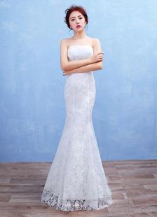 Русалка богемная свадьба платье кружева без бретелек свадебное платье макси белый спинки этаж Длина свадебное платье