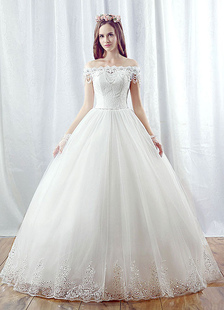 Pizzo da sposa abito palla abito abito nuziale Maxi Off spalla Backless bordare abito da sposa principessa bianca di catene a più livelli