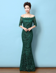 Vestido de noche de color verde oscuro con 1/2 manga con escote de hombros caídos de encaje