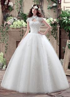Vestido de novia princesa hasta el suelo con escote alto con manga corta De banda de encaje estilo princesa