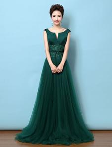 Vestido de noche Tulle Vestido de madre Backless Vestido de color verde oscuro entallado encaje Lace Applique Vestidos de invitación de boda con tren