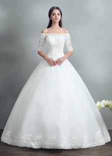 Принцесса свадебное платье кружева бисером макси свадебное платье с плеча белый этаж Длина мяч бальное платье свадебное платье
