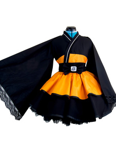 Naruto Uzumaki Naruto Cosplay Costume Girl Version Lolita Kimono Dress Halloween