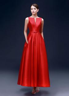 Abiti da sera rosso raso una linea Abiti per festa alla caviglia lunghezza scollo dentellato Backless Prom Dresses