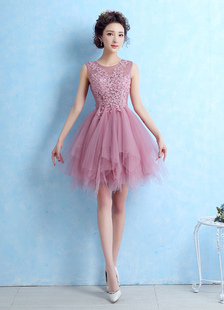 Tulle Abito da Cocktail illusione pizzo Applique Prom Dress Cameo rosa senza maniche Homecoming più livelli