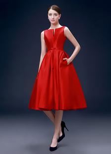 Rosso Abito da Cocktail in raso una linea abiti da festa senza schiena con intaglio scollo ginocchio lunghezza Prom Dress