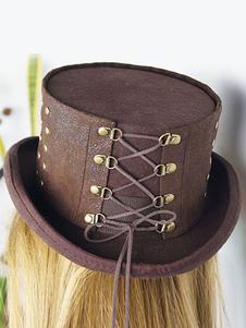 Costume Carnevale Carnevale cappello Steampunk Brown Beaded Lace Up Flat Top Hat Steampunk-accessori donna