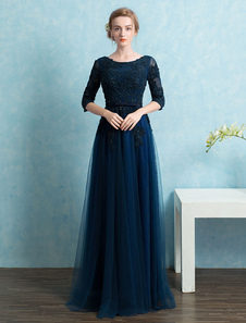 Vestidos de fiesta largos Vestido de noche de color azul marino oscuro con 1&2 manga con escote redondo con faja