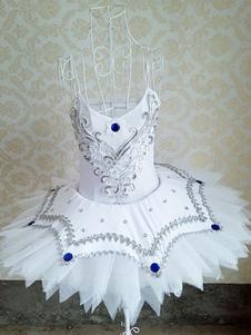 Balé branco vestido Beading Tutu dança Ballet Camisole collant vestido
