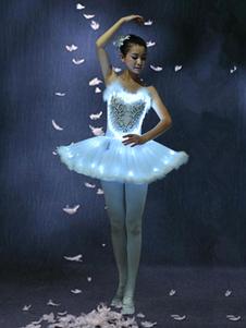 Ballet branco vestido brilhante Ballet dança fantasia LED Tutu Ballet festa vestidos