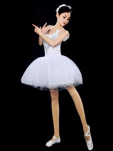 الأبيض الباليه اللباس فو الفراء الكرة ثوب ثوب الباليه الرقص الحزب