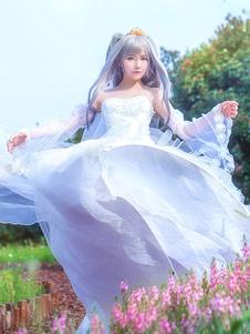 Policía de Judy Hopps Rabbit Zootopia Cosplay traje blanco vestido de novia Halloween