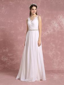 ブライドドレス ウェディングドレス Aライン アイボリー フロアレングス Vネック ノースリーブ ナチュラルウェストライン シフォン