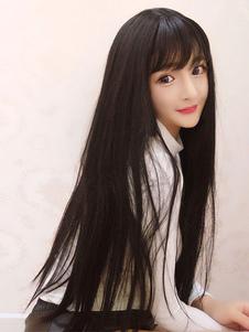 Dulce Lolita pelucas larga recta negro pelucas sintéticas del pelo con flequillo