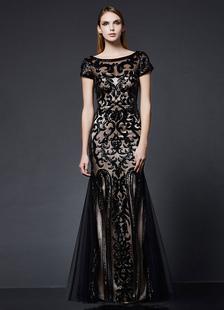 Abito da Sposa Nero Paillettes Abito da sera nero Mermaid abito formale manica corta ricamato Bateau Maxi vestito da partito