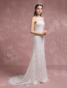 Летние свадебные платья 2020 Кружева Boho Русалка свадебное платье Холтер Свадебное платье с суд поезд