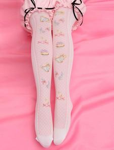 Сладкая Лолита розовый печати Лолита чулки колено высокие носки