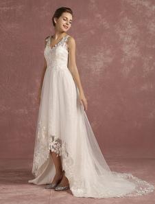 فساتين زفاف صيف 2020 الدانتيل عالية منخفضة الخامس الرقبة ثوب الزفاف الوهم أكمام ألف خط فستان الزفاف مع قطار مصلى