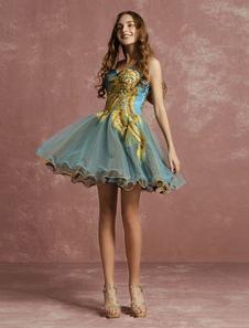 Тюль коктейльное платье кружева бисером платье без бретелек рукавов линия Короткое платье