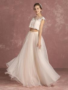 Vestido de noiva Uma linha de laço Crop Top Organza  nupcial ilusão andar sem mangas