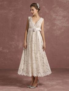 Летние свадебные платья 2020 Кружева V Шея без рукавов Свадебное платье лента лук Sash Back Keyhole Tea Length Bridal Dress Milanoo