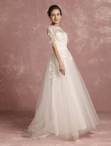 Vestido de noiva Praia  marfim Applique flor frisada nupcial tule ilusão redondo