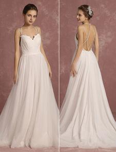 Летние свадебные платья 2020 Boho Спагетти ремень Милая без рукавов свадебное платье линии Criss Cross Backless свадебное платье с поездом