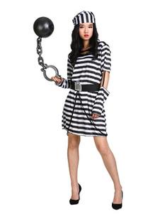 Disfraz Carnaval Disfraz de Halloween negro de presidiario para adultospara Halloween con vestido/con gorra/Faja elástica Halloween Carnaval