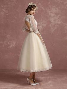 Старинный свадебное платье короткие кружева тюль свадебное платье рукав V шеи спинки A линия цветок Sash чай Длина свадебное платье Milanoo
