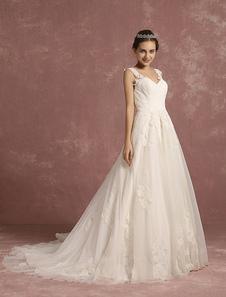 الدانتيل فستان الزفاف الوهم ألف خط ثوب الزفاف الخامس الرقبة بلا أكمام قطار مصلى فستان الزفاف