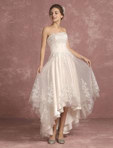 Vestido de novia alto-bajo sin mangas con escote palabra de honor sin tirantes con cola asimétrica de línea A