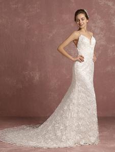 Vestido de noiva Cintas de renda marfim Catedral sereia espaguete V pescoço
