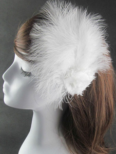 Acessórios de dança de balé headpieces penas brancas grampo de cabelo de dança
