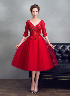 Tulle Prom Dress Burgundy perline fiore graduazione vestito V collo A linea mezze maniche tè lunghezza Party Dress