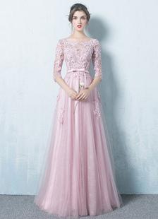 Розовый вечернее платье тюль спинки выпускного вечера платье кружева аппликация три четверти рукава створки платье макси случаю линии