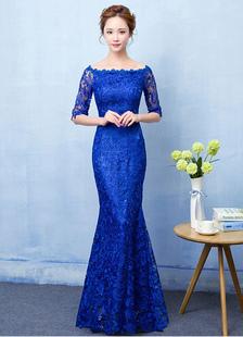 Кружева Королевский синий русалка вечернее платье выпускного вечера платье с плеча Половина рукав макси платье