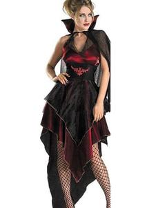 هالوين زي شيطان تأثيري المرأة ماردي غرا غير النظامية المتدرج اللباس الأسود القصير وعباءة هالوين