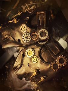 Costume Carnevale Steampunk nero guanti Vintage Unisex ingranaggi PU guanti senza dita