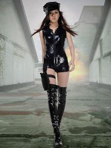 Хэллоуин сексуальный Cop костюм женщин короткий рукав Slim Fit комбинезон с поясом Хэллоуин