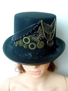 Costume Carnevale Steampunk Cappello a cilindro Nero Vintage Chain Retro Costume Accessori