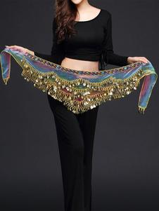 Танец живота костюм шарф пояс Blue Voile Болливуд танцы Аксессуары