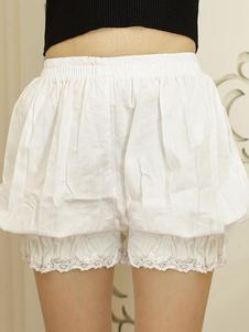 Bianco Lolita Bloomers pizzo elastico Plus Size Trim Lolita sicurezza pantaloni