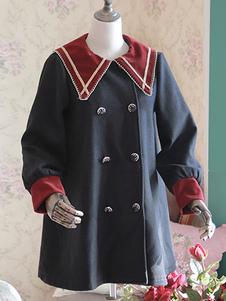 Lolita marinero Camisas manga larga negro doble Breasted 2 colores blusas de Lolita
