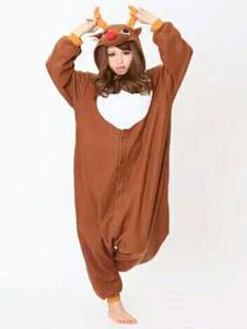 Пижамы kigurumi оленей Onesie Браун фланелевой животных пижамы для взрослых Хэллоуин