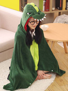 Kigurumi динозавра костюм зеленый животное Snuggies фланелевой мыс плащ взрослых Onesie пижама Хэллоуин