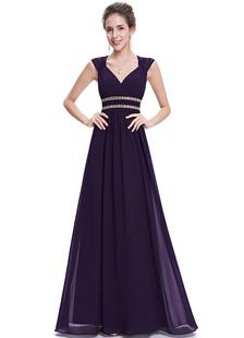 Reina Anne Neckline de gasa vestidos de noche vestidos formales lavanda cuentas una línea sin respaldo piso fiesta vestidos