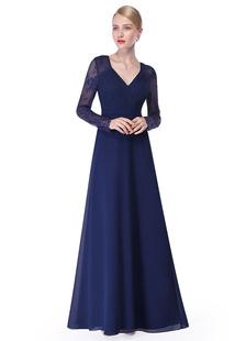 Vestido de noche con manga larga con cuello en V con pliegues