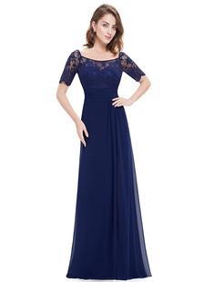 Vestido para la madre de los novios con cuello en U con 1%262 manga con pliegues de línea A hasta el suelo vestidos de madrina de boda vestidos para mamá